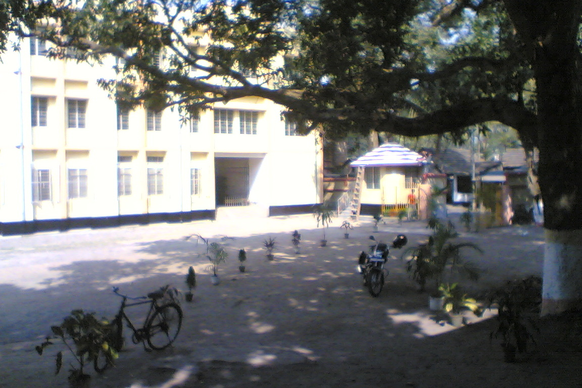 The frontyard of the school